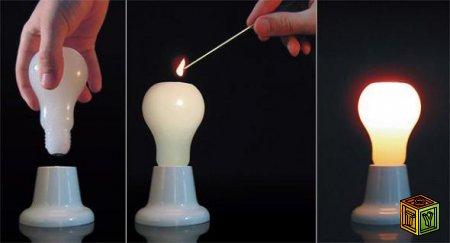 Свеча из лампочки и другие поделки